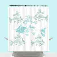 Funky Coastal Decor Shower Curtain - Aqua Fish Skeletons , unique, teal, blue, chic, beach cottage decor