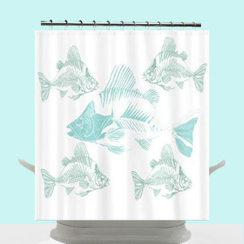 funky coastal decor shower curtain aqua fish skeletons unique teal blue