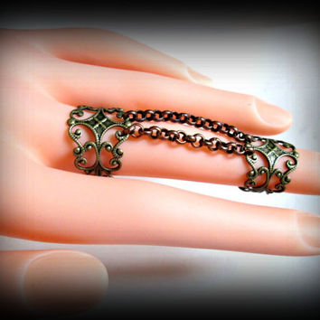 Bronze Filigree Double Ring-Knuckle Ring-Adjustable Ring-Armor ring-gothic ring-ring with chain-one size
