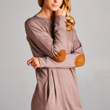 Taupe Elbow Patch Detail Tunic