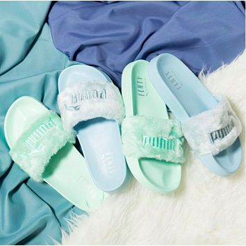 """PUMA"" Rihanna Fenty Leadcat Fur Slipper Shoes  3 colors  35-40"