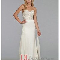 Beaded And Embroidered Sweetheart Bodice Charmeuse Sheath Bridal Gown TK2402