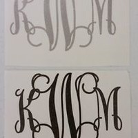 Monogram Initals GLITTER Vinyl Intertwined 3 Sizes Diecut Decal FREE SHIPPING