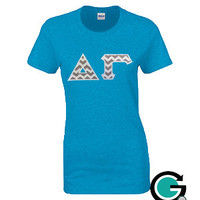 CUSTOM Gildan Ladies T Shirt with Greek (Sorority) Letters
