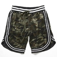 American Stitch Stripe-Trim Camo Print Shorts