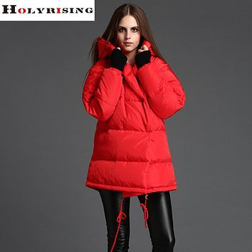 Trendy winter jacket women casual hooded long down jacket solid female winter parka lady puffer thick jacket xs-xl Holyrising