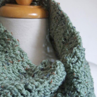 handmade wool free crochet cowl circle scarf in pale sage green fleck