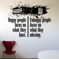 Vinyl Wall Decal Sticker Happy Unhappy People Quote #5434