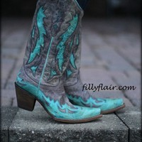 Corral Tobacco with Turquoise Inlay Boots - Footwear