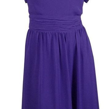 S.L. Fashions Women's Cowl Ruched V-Back Chiffon Dress