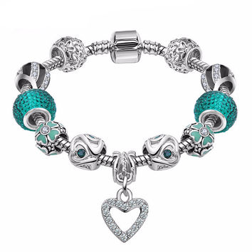 Best LOVE Gift 925 Silver Heart Charm bracelet for Women Murano Glass Beads Jewelry Fit pandora Bracelets Cuff Bracelet