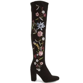 Mia Serena   Black Stretch Microsuede Floral Embroidered Over The Knee Boot