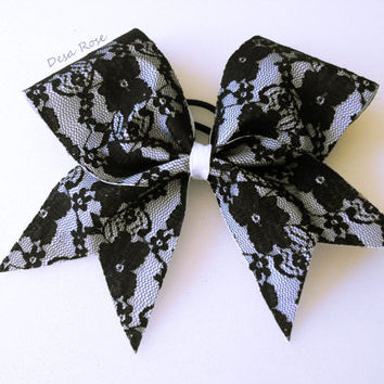 Black Lace Cheer Bow