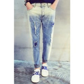 Slimming Stylish Patches Design Fabric Splicing Ombre Beam Feet Denim Nine Minutes of Pants For Men