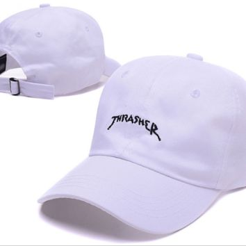 Trendy White Thrasher Embroidery Outdoor Baseball Cap Hats