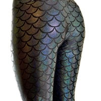 Black Metallic Dragon Scale Mermaid Holographic Lycra Spandex  Leggings  -E7431