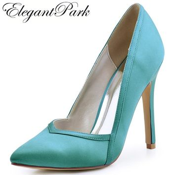 Woman Shoes High Heels Wedding Shoes Pointed Toe Satin Bride Bridesmaids Bridal Prom Evening Party Pumps HC1603 Ivory Teal
