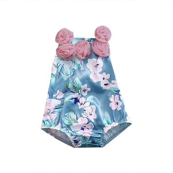 Summer Newborn Baby Girls Floral Romper Infant Sleeveless Halter Jumpsuit Sun-suit Clothes Outfits
