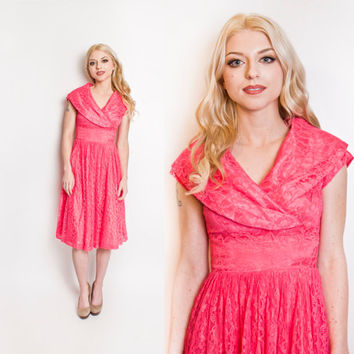 Vintage 1950s Dress - Fuchsia Lace Full Skirt Party Prom Cocktail Dress 60s - Small / xs