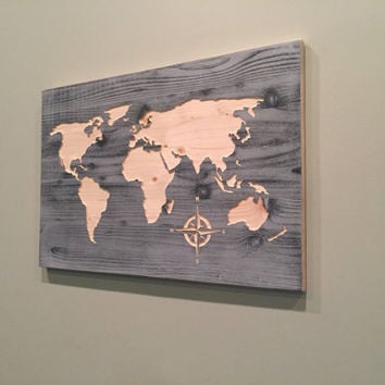 Carved world map wall art, world map home decor, world map decal, world map poster, distressed, chic, shabby, reclaimed wood, housewarming