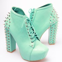 Vintage Shoes Studded Back Platforms - Turquoise