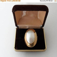 ON SALE Vintage Distinctive Osmena Pearl Statement Ring/Stamped 10K Gold Contemporary Bezel Setting/Vintage Nautilus Pearl/10K Gold Cocktail