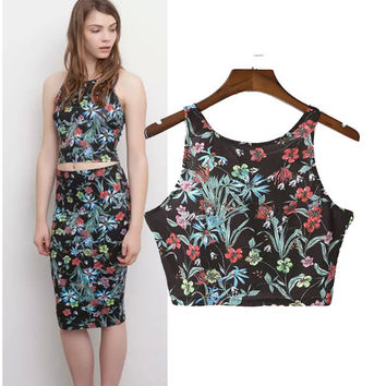 Stylish Print Crop Top Camisole Women's Fashion Tops [5013429508]