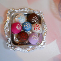 Candy Coated TRUFFLES WIth Candy Sprinkles (7 Cake Brownies) Dessert Treats for 18 inch dolls