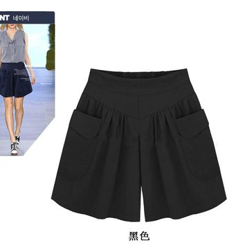 Pure Color High Waist Pockets Loose Plus Size Shorts
