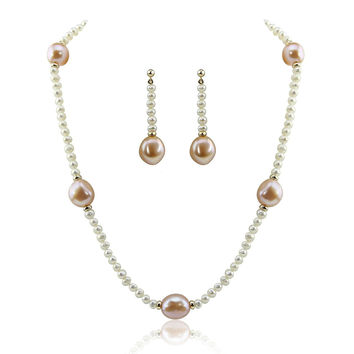 "14k Yellow Gold 11-13mm Pink, 4-5mm White Baroque Freshwater Cultured Pearl Necklace 18"" and earring sets"