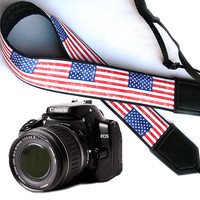 US flag design camera strap. DSLR / SLR Camera Strap. Camera accessories. Nikon  Canon Fuji camera strap.