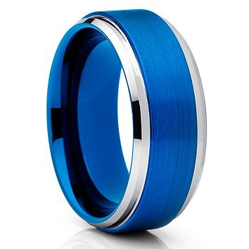 8mm - Blue Tungsten Ring - Men's Wedding Band - Blue Tungsten Band