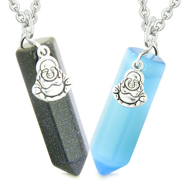 Happy Buddha Love Couples or Best Friends Crystal Points Goldstone Sky Blue Simulated Cats Eye Necklaces