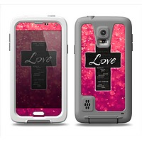 The Love is Patient Cross over Unfocused Pink Glimmer Samsung Galaxy S5 LifeProof Fre Case Skin Set