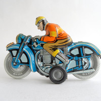 1950s Toy Motorcycle, Ballon Cordatic by Lemez, Rare Friction Litho Tin Toy, Cyclist Rider, rubber tyres, European motorbike Hungary