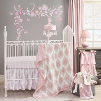 Lambs & Ivy Charlotte by Dena 6 Piece Baby Crib Bedding Set with Bumper & Mobile