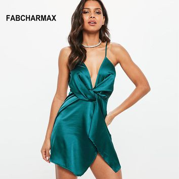 short satin V neck spaghetti strap wrap silk front knot shift dress