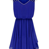 Blue Rhinestone Studded Chiffon Dress