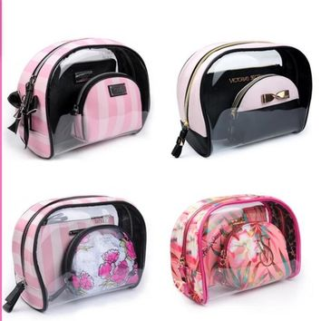 Victoria's secret makeup bag is waterproof and transparent three-piece bag Tagre™