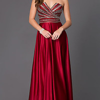 Floor Length Strapless Dress with Embellished Bodice