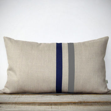 Gray and Navy Striped Pillow - 12x20 - Modern Home Decor by JillianReneDecor - Minimal Masculine Stripes (More Colors) Lumbar Pillow