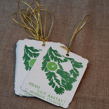 30% CHRISTMAS SALE: Soviet Vintage Christmas, New Year Gift Tags