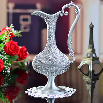 2015 New free shipping pewter plated with handle metal flower vase for home decoration