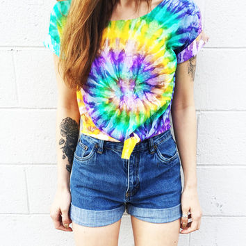 Crop Top Tie Dye Tee Women's Clothing Music Festival Clothing Tumblr Fashion Summer Wear Tshirt