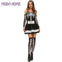Sexy Women 3pcs Funny Skeleton Halloween Costume Fancy Dress Tier Skirt Slim Masquerade OutfitsGloveLeg Warmers Black Clothes SM6