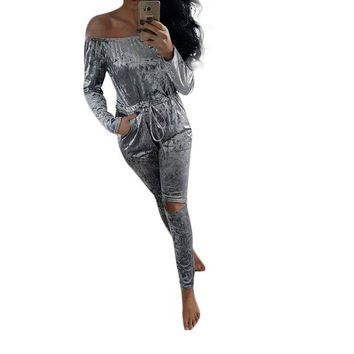DCCKFV3 Women Velvet Jumpsuit Sexy Slah Neck Pleated Waist Hole Knee Ripped Long Sleeve Sheer Bodysuit Winter Rompers Womens Jumpsuit