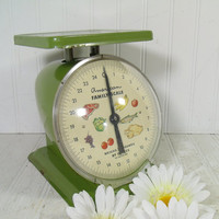 Mid Century Avocado Green American Family Food Scale - Vintage Bright Enameled Metal with Litho Color Face & Original Lens Working Condition