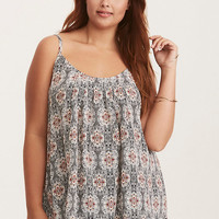 Paisley Print Crossback Pleated Cami Top