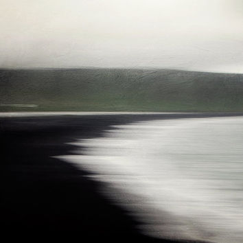 Flux - Black Sand Beach, Vik Iceland, Modern Abstract Landscape Photography, Nordic, Scandinavian Water, Ocean, Sea Waves, Moss Green