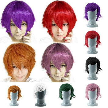 Colorful Short Straight Hair Cosplay Costume Wigs For Party = 1714391364
